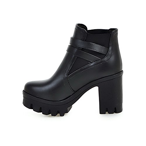 High Solid Women's Round Heels PU Ankle WeiPoot Boots Black high Closed Toe U8xdYF1