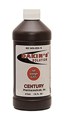 Dakin's Solution-Half Strength 304360936161 Sodium Hypochlorite 0.25 %, Wound Therapy for Acute and Chronic Wounds by Century Pharmaceuticals
