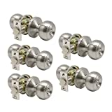 Solid Round Shape Privacy Door Knob Brushed Nickel Handles with 2-2 3/4''Adjustable Latch for Interior Doors (Package of 5