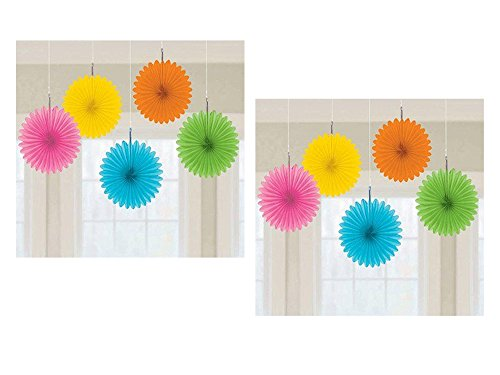 (2 Pack of 5 Amscan 6 inches Multicolor Mini Paper Fan Decorations bundled by Maven)
