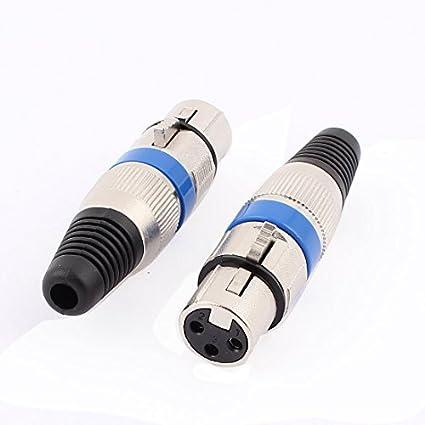 Amazon.com: eDealMax XLR 3P Mujer Audio del micrófono Conector de Cable 2pcs tono Azul de Plata: Electronics