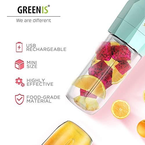 Greenis Licuadora portátil, recargable por USB, batidora de una ...