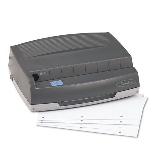 Holes 3 1/4' (50-Sheet 350MD Electric Three Hole Punch, 1/4'' Holes, Gray)