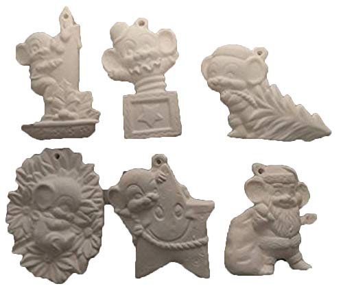 (Mouse Christmas Ornaments Asst #4 Set of 6 Ready to Paint Ceramic Bisque)
