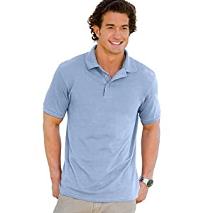Hanes 055X Unisex ComfortSoft Pique Knit Sport Shirt Light Blue Large