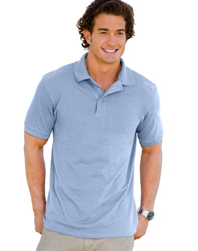 Hanes 055X Unisex ComfortSoft Pique Knit Sport Shirt Light Blue Large