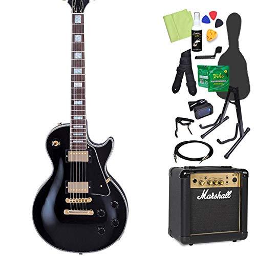 Burny SRLC55 Black 初心者14点セット 【マーシャルアンプ付き】 レスポールカスタムタイプ エレキギター バーニー   B07GN6ZC6T