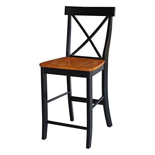 International Concepts S57-6132 X Back Stool Barstool, 24 inch, Black/Cherry