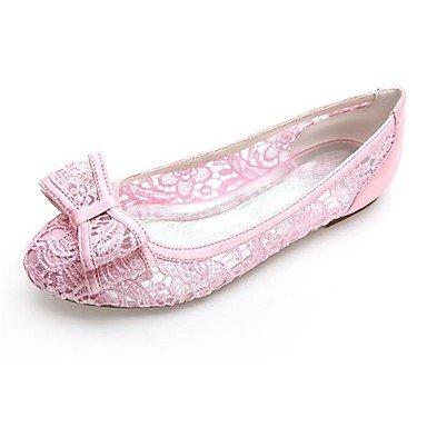 Lace Spring CN45 White Evening Pink UK9 Black amp;Amp; Ivory Flat Heel 5 5 Bowknot Summer Women'S Wedding EU43 US11 Party nEHWnpB