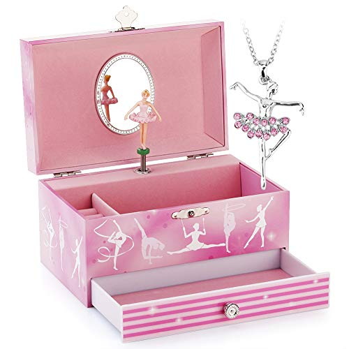(Musical Jewelry Box - Musical Storage Box with Drawer and Jewelry Set with Gymnastics Girl Theme - Swan Lake Tune)