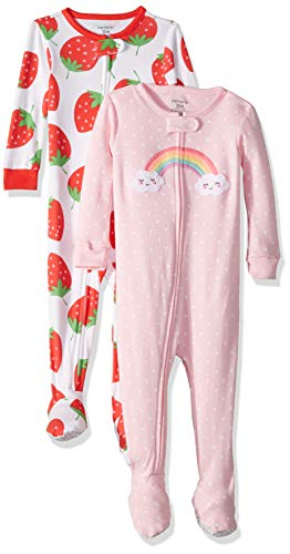 Carter's Baby Girls 2-Pack Cotton Footed Pajamas, Strawberry/Rainbow, 12 Months