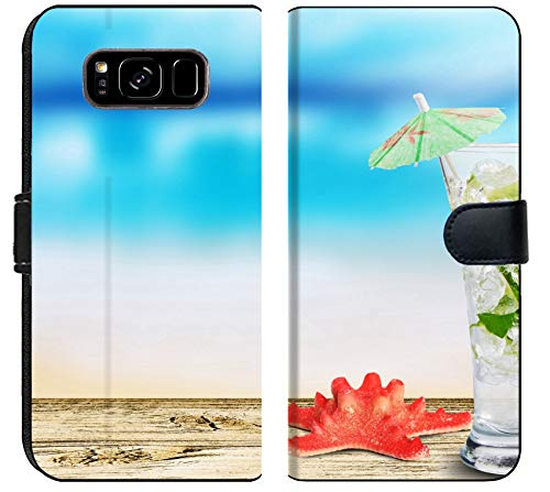 Samsung Galaxy S8 Plus Flip Fabric Wallet Case Image of Cocktail Alcohol ice Lime Drink Mojito Summer Refreshment Juice Glass Fruit Mint Cold Rum Tropical