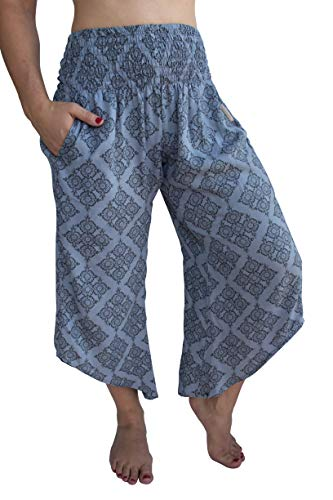 PIYOGA Women's Yoga Flare Capri's, Boutique Boho with Elastic Waistband (One Size fits US W Size 0-10) - The Queens -