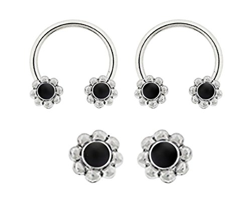 Pair of Black Onyx stone ss Flower CABOCHON style Horseshoe Ring lip, belly, nipple, septum, earring hoop 14g (Cabochon Barbell Black)