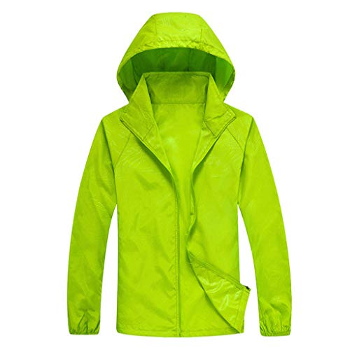 Tantisy ♣↭♣ Women Men's Waterproof Outdoor Active Hooded Rain Trench Jacket Sun Protection Clothing Overalls (with Pockets) Green