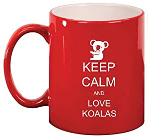 Red Ceramic Coffee Tea Mug Keep Calm and Love Koalas