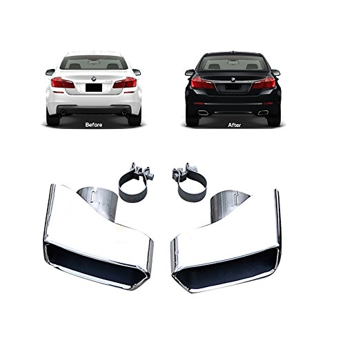 Exhaust Muffler Tips Fits 2011-2016 BMW F10 F11 F18 5 Series | Chrome Stainless Steel Rear Silencer by IKON MOTORSPORTS | 2012 2013 2014 2015 ()