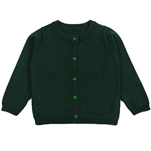 Little Girls Cute Crew Neck Button-down Solid Fine Knit Cardigan Sweaters (3-4 Years, Dark Green)