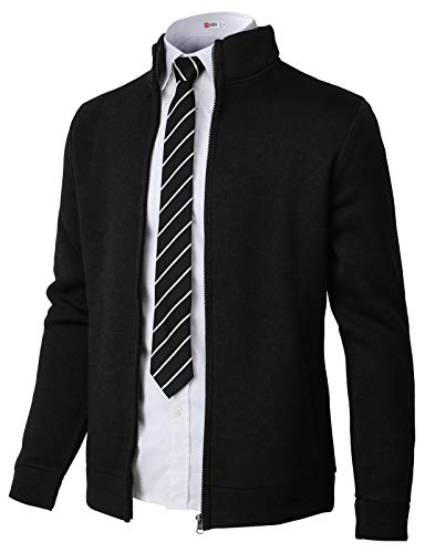- H2H Mens Casual Knitted Zip-Up Hoodie Jacket Napping Long Sleeve Black US XL/Asia 2XL (CMOCAL032)
