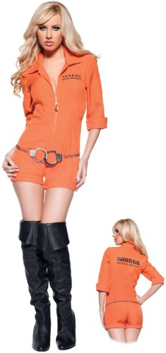 [Women's Sexy Prisoner Costume - Busted, Orange, Small] (Sexy Couples Costumes)