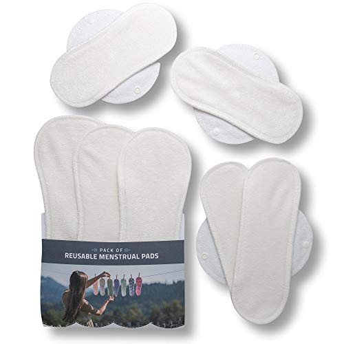 Waschbare Stoffbinden, 7er Pack Bio Bambus Wiederverwendbare Binden mit Flügeln; MADE IN EU; Damenbinden für Menstruation, Inkontinenz, postpartale Blutungen; Stoffbinden aus Bambus ohne Chemikalien