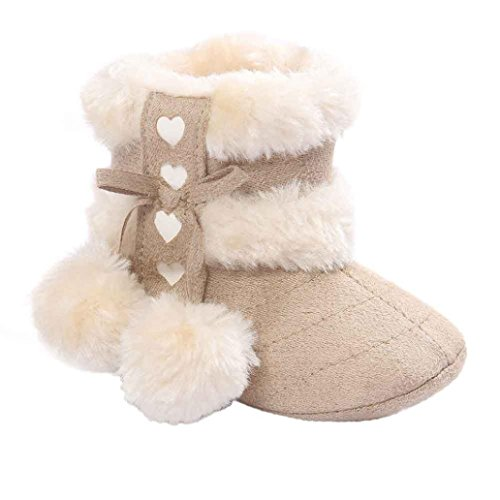 Voberry® Baby Toddler Girls Knit Soft Winter Warm Snow Boot Fur Trimmed Pom Pom Boots (12~18M, (Baby Girls Boots)