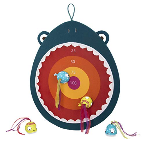 (B. Toys - Hungry Toss Shark Toys - Kids Dart Board - 1 Fabric Board & & 4 Soft Darts for Kids 3+ (5-Pcs))