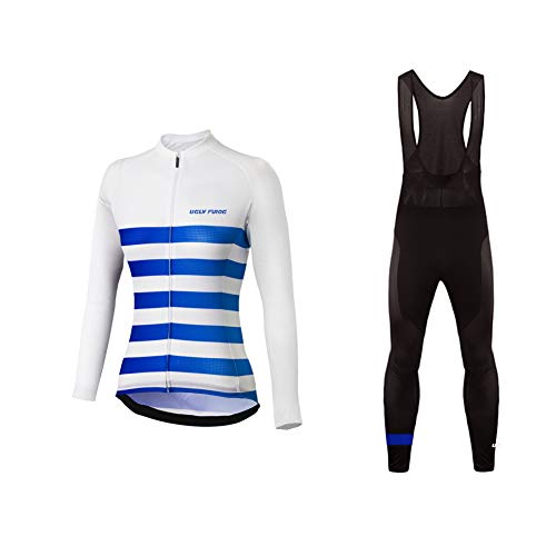 Uglyfrog Newest Long Sleeve Cycling Jersey + Bib Tight Sets with Gel Pad Women Outdoor Sports Wear Winter Fleece Thermo Bicycle Triathlon Clothing Gifets for Friends (Team Gb-triathlon)