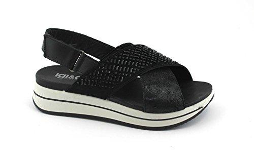 IGI&Co 1172200 Mujeres Negras Zapatos de Las Sandalias de Cuña de Cuero Lágrima Cruz Nero