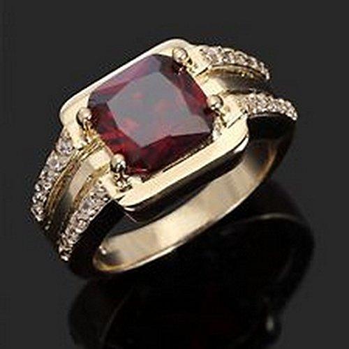 (YD Jewels - AAA Fashion Size 7 Red Garnet Men Women 18K Gold Filled Wedding Rings)