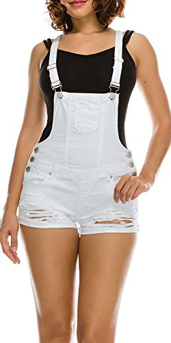 TwiinSisters Women's Destroyed Slim Curvy Pants Stretch Short Overalls Size S - 3X (Small, White)