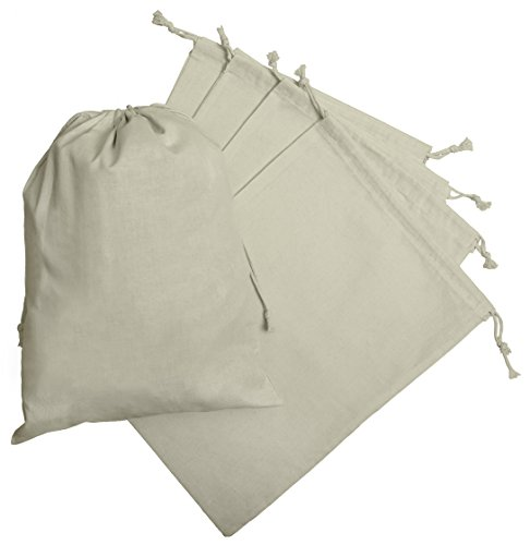 100 Percent Cotton Muslin Drawstring Bags For Storage Pantry Gifts (12 x 16 inch - 6 pack, White)