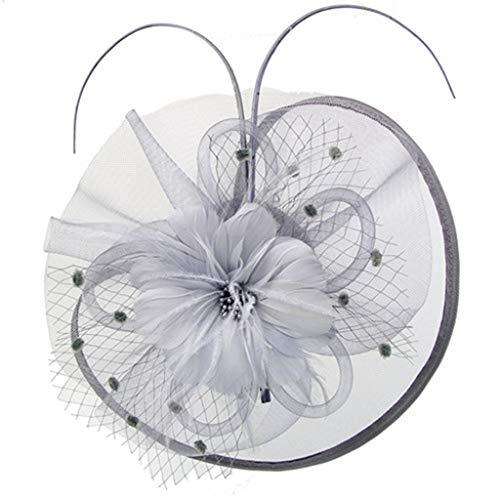 (Fascinators Hats for Women Flower Mesh Ribbon Feather Headband Ladies Kentucky Derby Headwear)