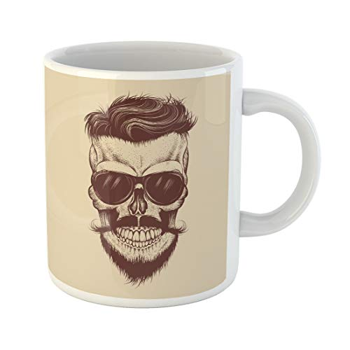Semtomn Funny Coffee Mug Man Hipster Skull Sunglasses Mustache and Beard Work Tattoo 11 Oz Ceramic Coffee Mugs Tea Cup Best Gift Or Souvenir