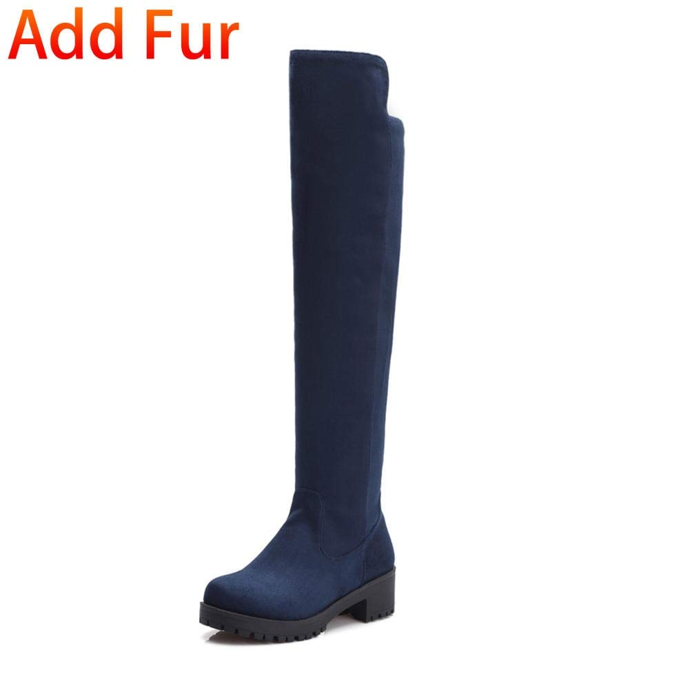 bleu with fur HOESCZS 2018 Grande Taille 34-43 Talons Chunky Chunky Chunky Femmes Bottes Chaussures Slip sur Le Genou Haute Bottes Loisirs Mode Chaussures Femme 7ac