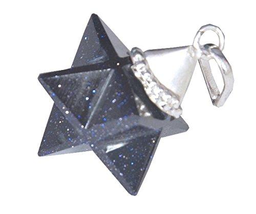 WholesaleGemShop Blue Goldstone Merkaba Star Pendant ()