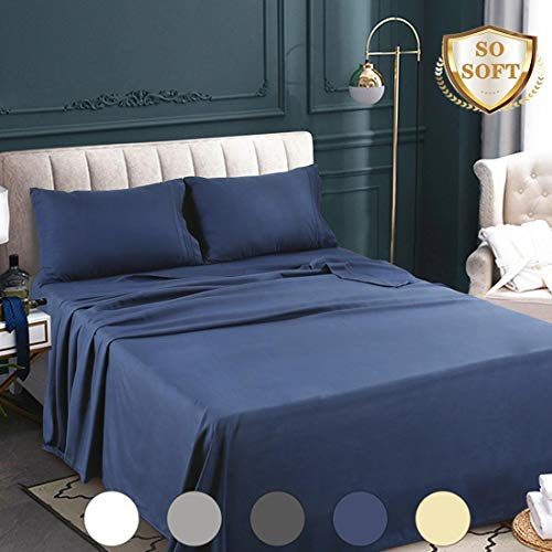 Abakan King Bed Sheets Set 4 Piece Microfiber 1800 Series Hotel Luxury Bedding Sheet Breathable, Wrinkle Fade Resistant Soft Sateen Weave Deep Pockets Bedding Set (King, Navy Blue)