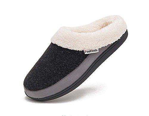 FootTech Women's Indoor Clog House Slippers- Felt Upper, Plush Fleece Lining and Sock, Memory Foam Insole, Anti-Slip Outsole Designed by (9-10, Navy/Light (Light Fleece Lining)