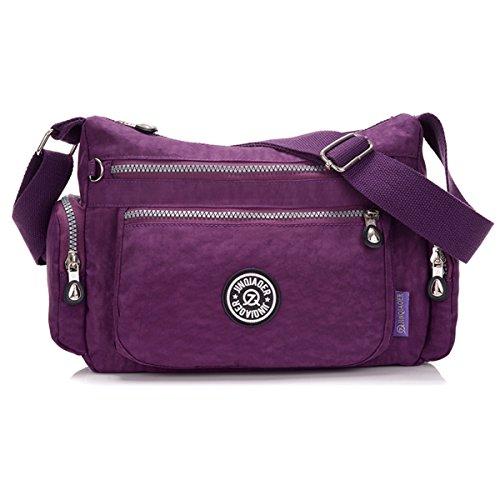 Tiny Chou Lightweight Waterproof Nylon Shoulder Bag Crossbody Messenger Bag with Lots Zipper Pockets Purple