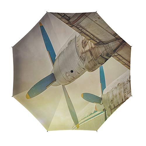 Travel Umbrella,Vintage Airplane Decor,8 Ribs Finest Windproof Umbrella with Teflon Coating, Auto Open Close and Upgraded Comfort Handle 42 Inch,Old Wing Aircraft with Propellers at Sunset Snowy Wint