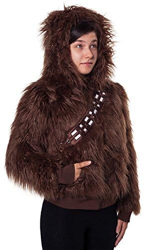 Ladies Star Wars Chewbacca Faux Fur Zip Hoodie Brown Medium -