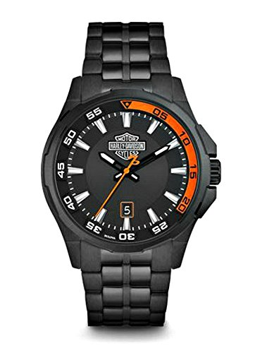 Harley-Davidson Men's Dashboard Bar & Shield Watch, Black Stainless Steel 78B141