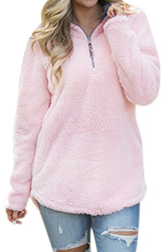 Women's Casual Fleece Solid Pullover Top Zip Outwear Sherpa Sweatshirt with Pockets Pink XL by Spadehill (Image #2)'