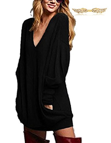 BYD Mujeres Blusas Camisetas Manga Larga V-escote Suelto T shirt Túnica Camisas Tops Negro