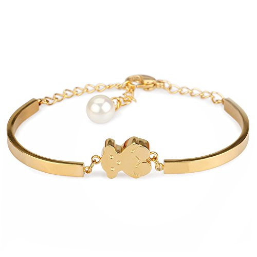 Richapex 18K Gold Plated Stainless Steel Teddy Bear Link Bracelet with Shell Pearl Pendant (gold-plated-base)