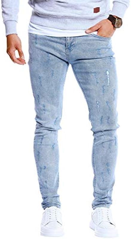 Leif Nelson Męskie dżinsy Slim Fit Denim niebieskie długie spodnie jeansowe dla mężczyzn chłopcÓw białe spodnie cargo chinos lato zima Basic LN3001: Odzież