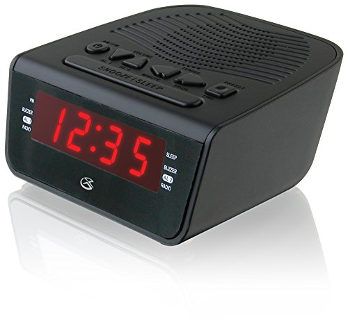 GPX C224B Dual Alarm Clock AM/FM Radio with Red LED Display