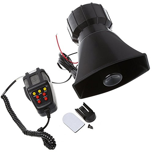 GTP 100W 7 Tone Car Truck Siren Emergency Sounds Electric Horn with Mic PA Microphone Speaker System Amplifier - Hooter/Blaring Police/Ringing Fire Alarm/Ambulance/Siren/Traffic Sound