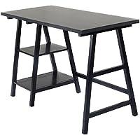 Tangkula Computer Writing Study Trestle Desk Modern Vintage Home Office Furniture (Black)