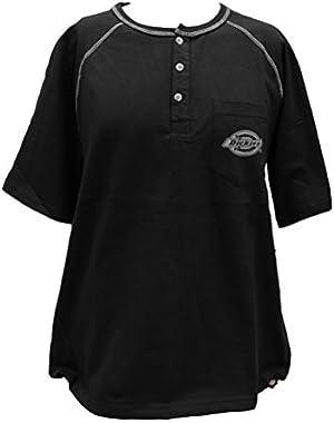 Men's Short Sleeve Single Pocket Henley Shirt (Large, Black)